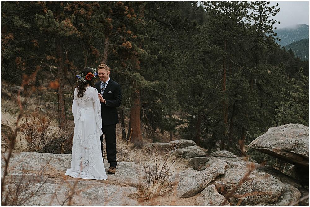 Colorado Rocky Mountain National Park Wedding First Look
