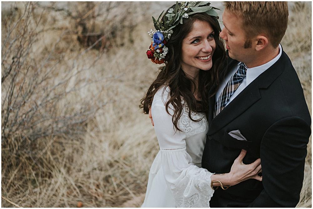 Bride and Groom First Look Estes Park Colorado
