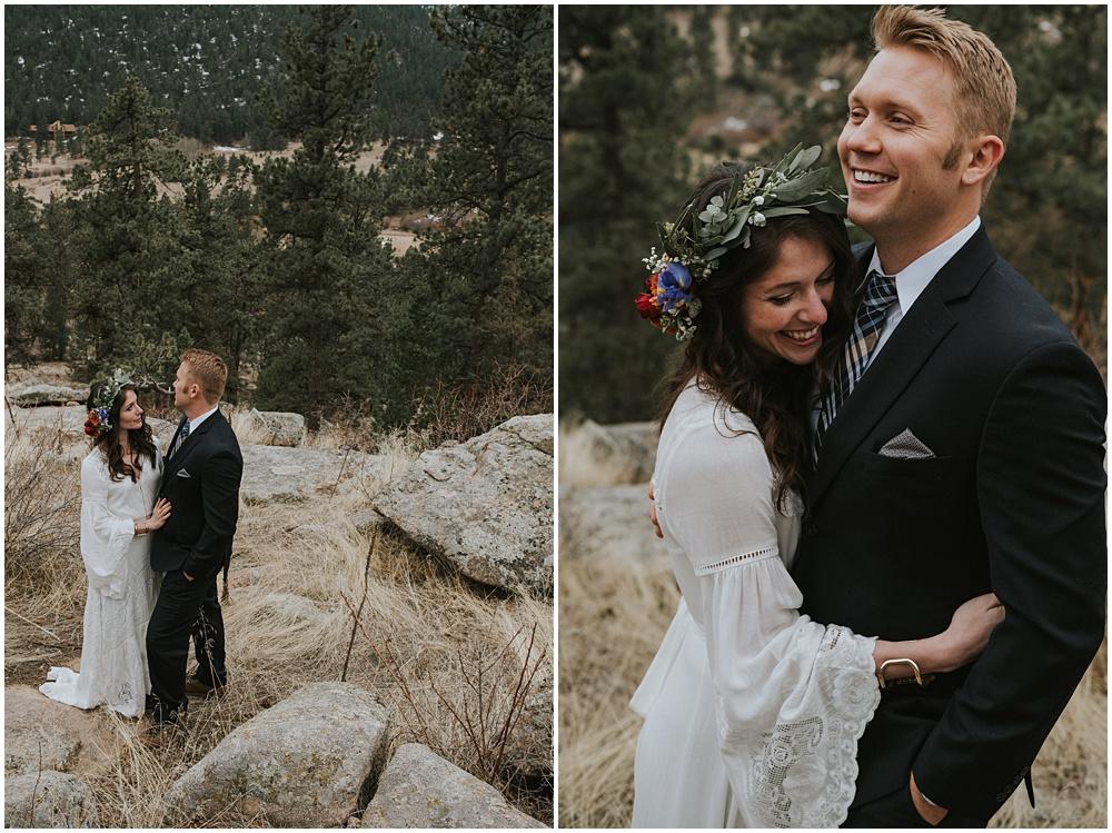 Estes Park Colorado Rocky Mountain National Park Wedding First Look Mountaintop Ceremony