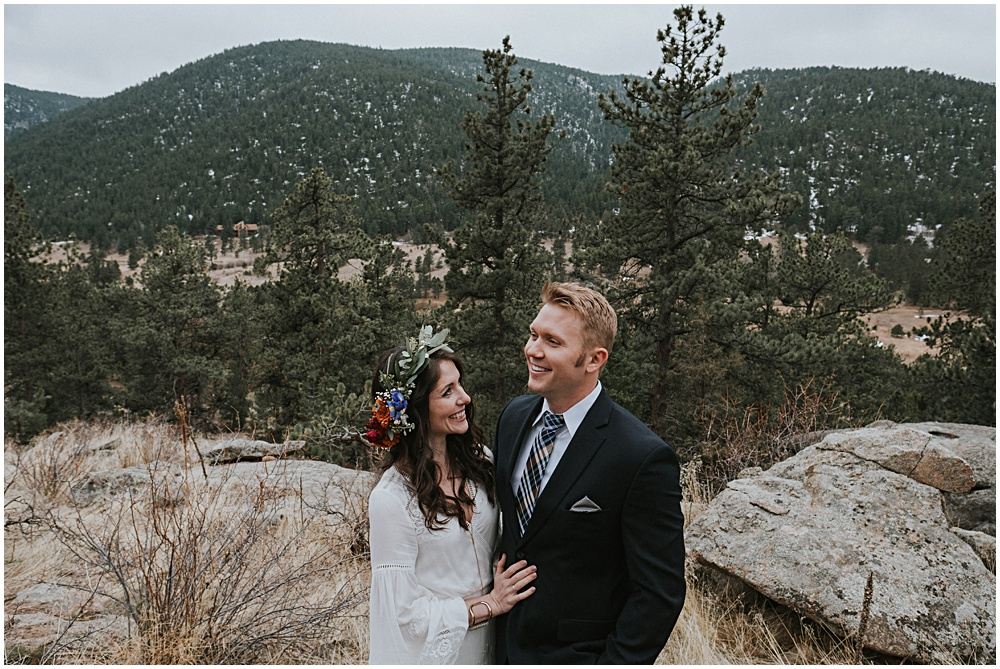 Couples Session First Look Rocky Mountain National Park Colorado Estes Park