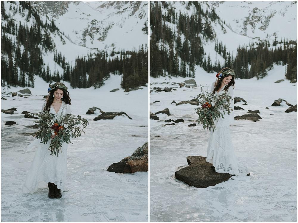Bride Dream Lake Wedding Ceremony Mountaintop