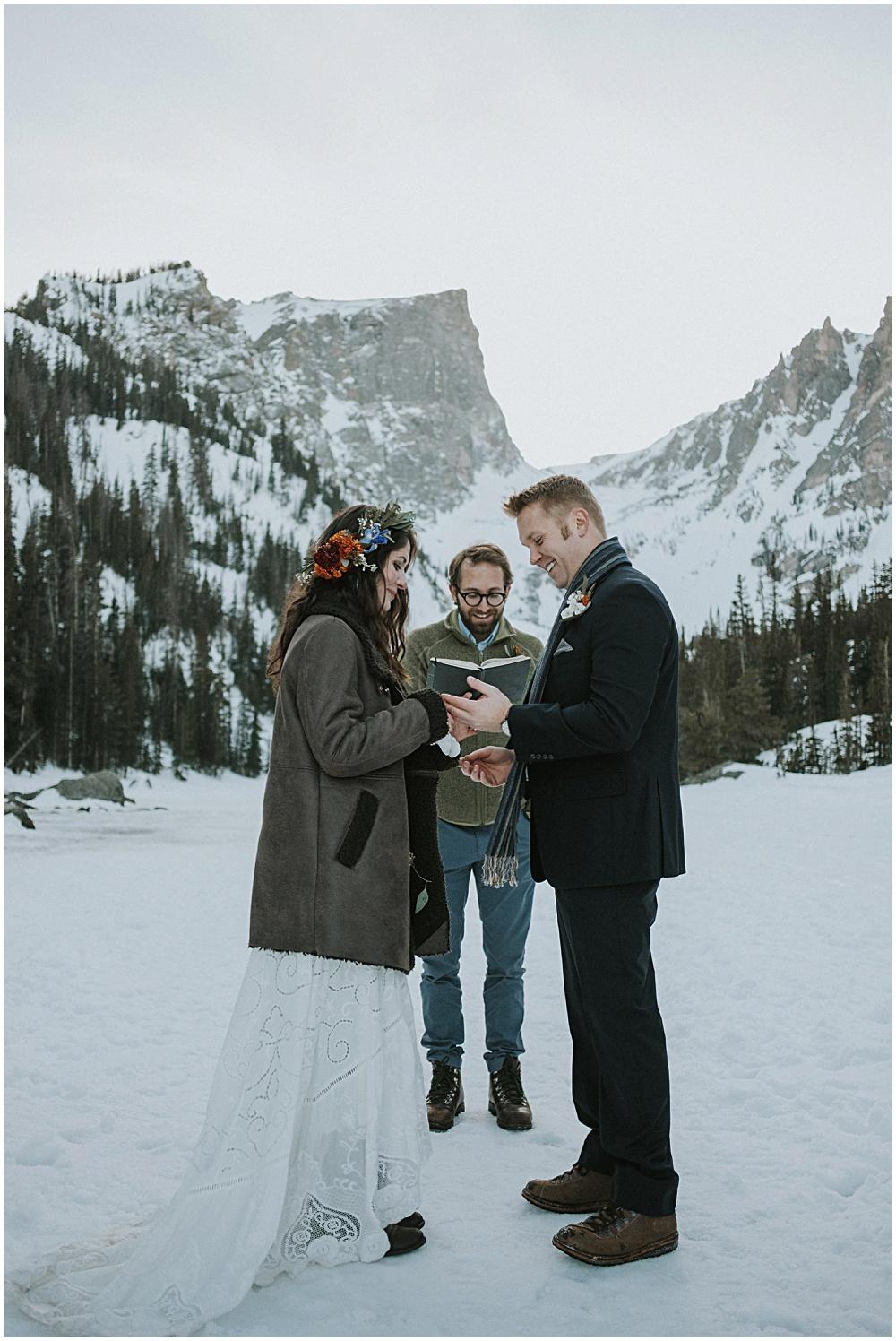 Bride and Groom Ceremony Colorado Dream Lake Wedding