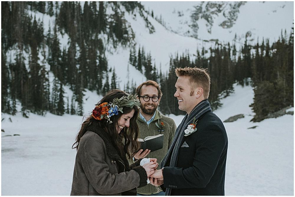 Mountaintop Elopement on Dream Lake Wedding Colorado