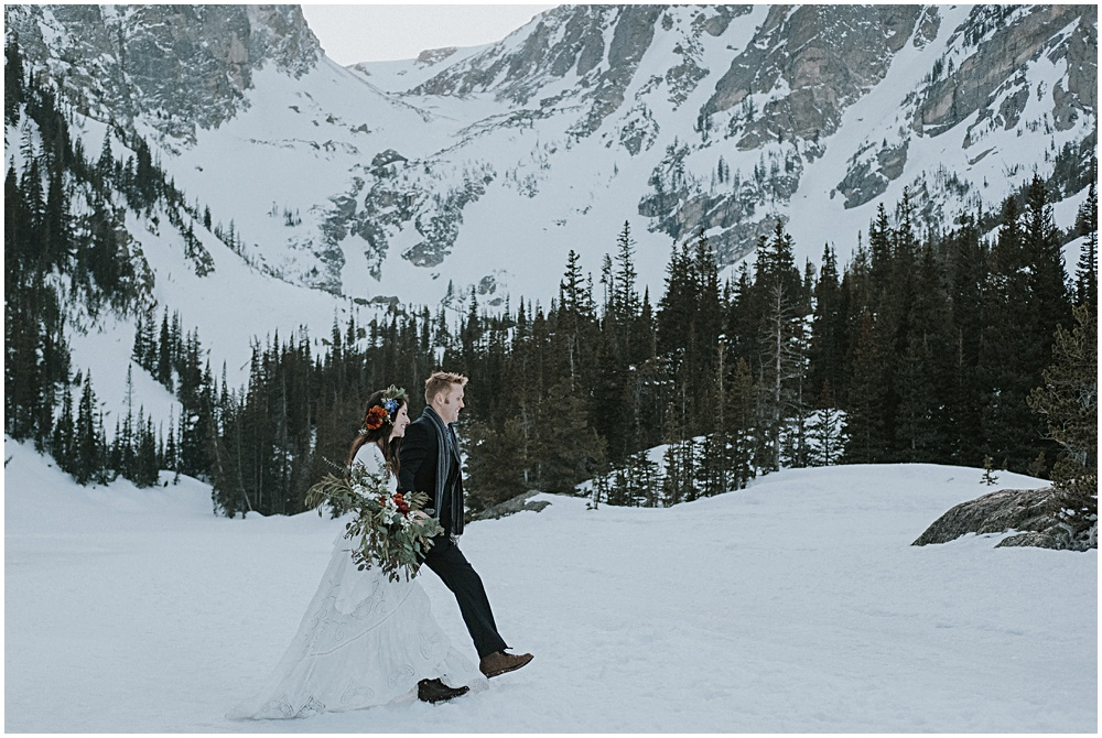 Mountaintop Elopement in RMNP Dream Lake Photographer