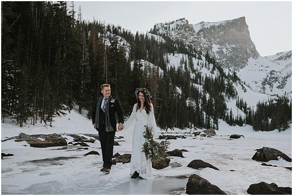 Wedding on Alpine Lake Frozen Lake