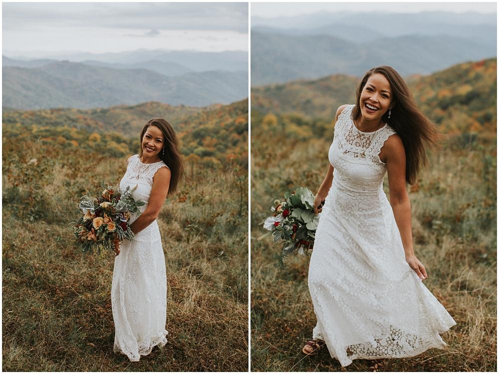 Bride Blue Ridge Mountains North Carolina