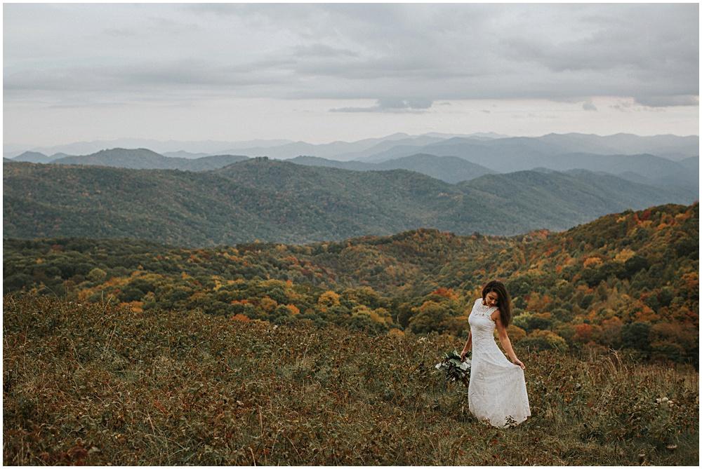 Elopement Bridal Portraits Blue Ridge Mountains