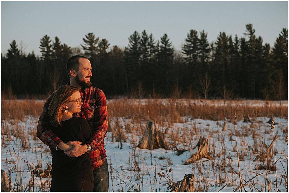Engagement Photographer Snow Winter Northern Michigan