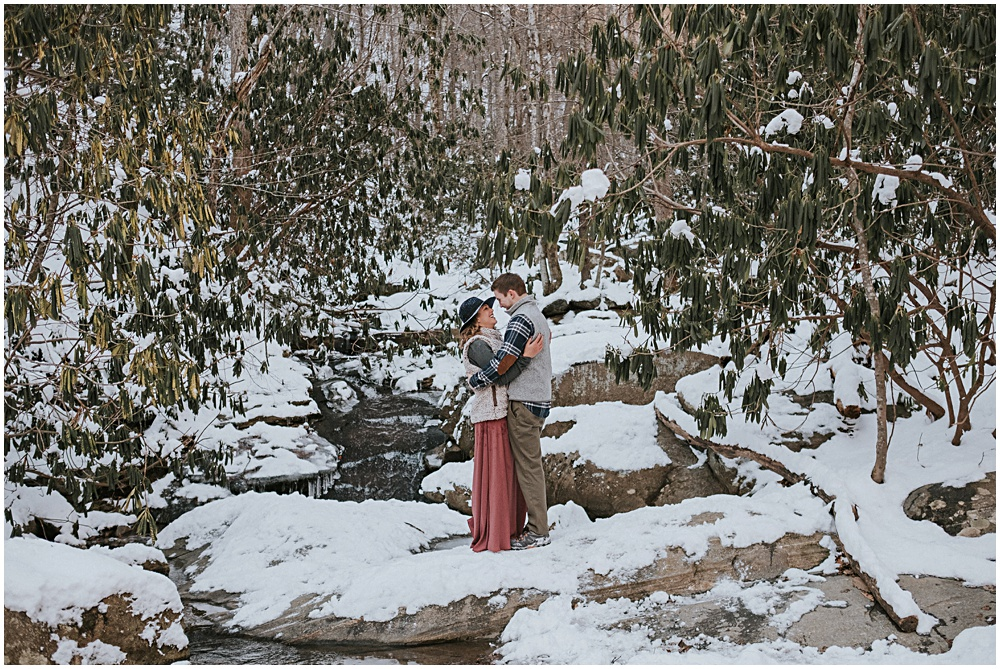 North Carolina Creek Winter Engagement