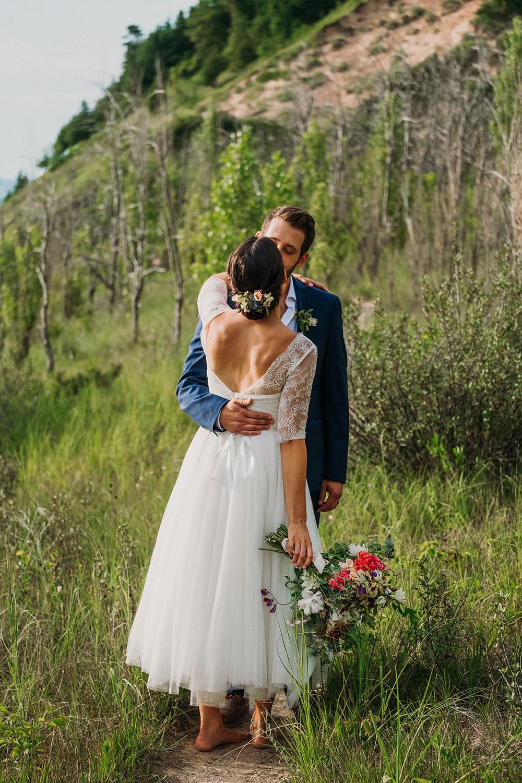 Bride Groom Kissing Dunes