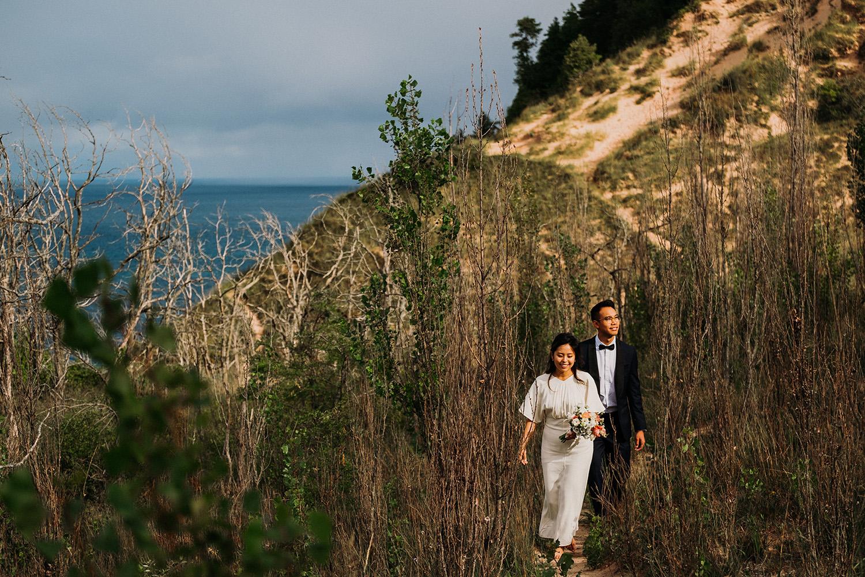 Bride and Groom Dunes Empire Michigan