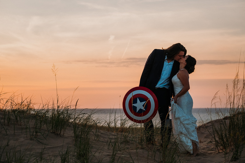Captain America Sunset Couple Kissing Sleeping Bear