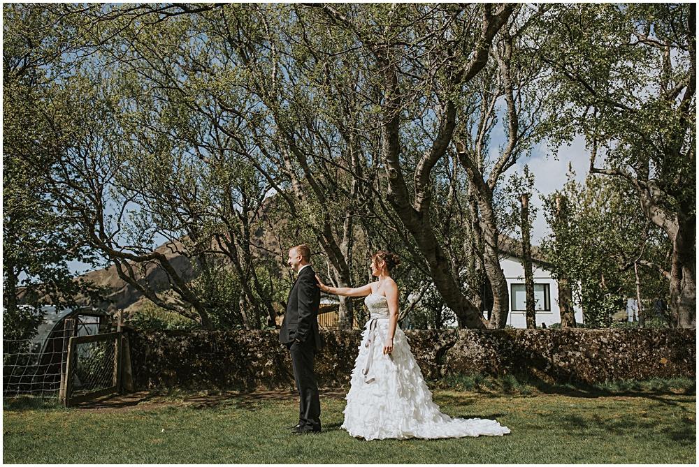 First Look Wedding Elopement Hotel Skogar
