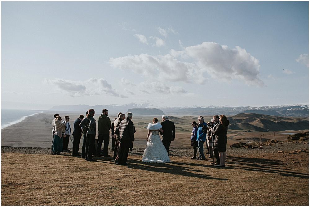 Iceland Wedding Ceremony on Dyrholaey Cliffs