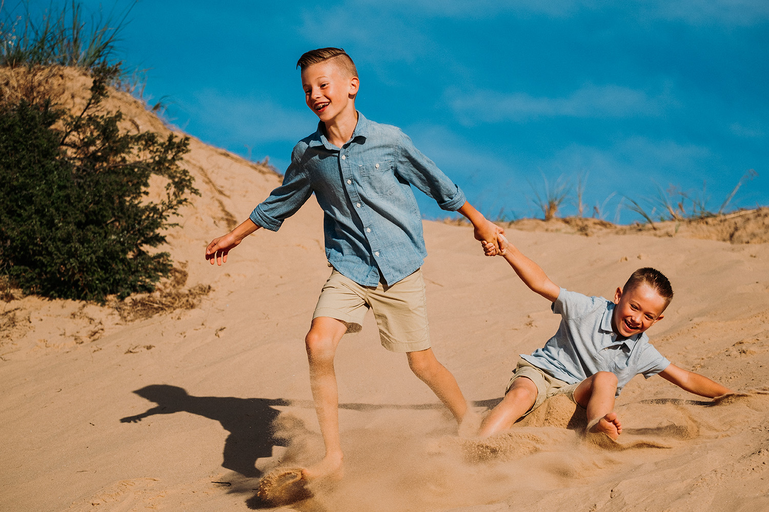 Brothers Running Sand Dunes Northern Michigan