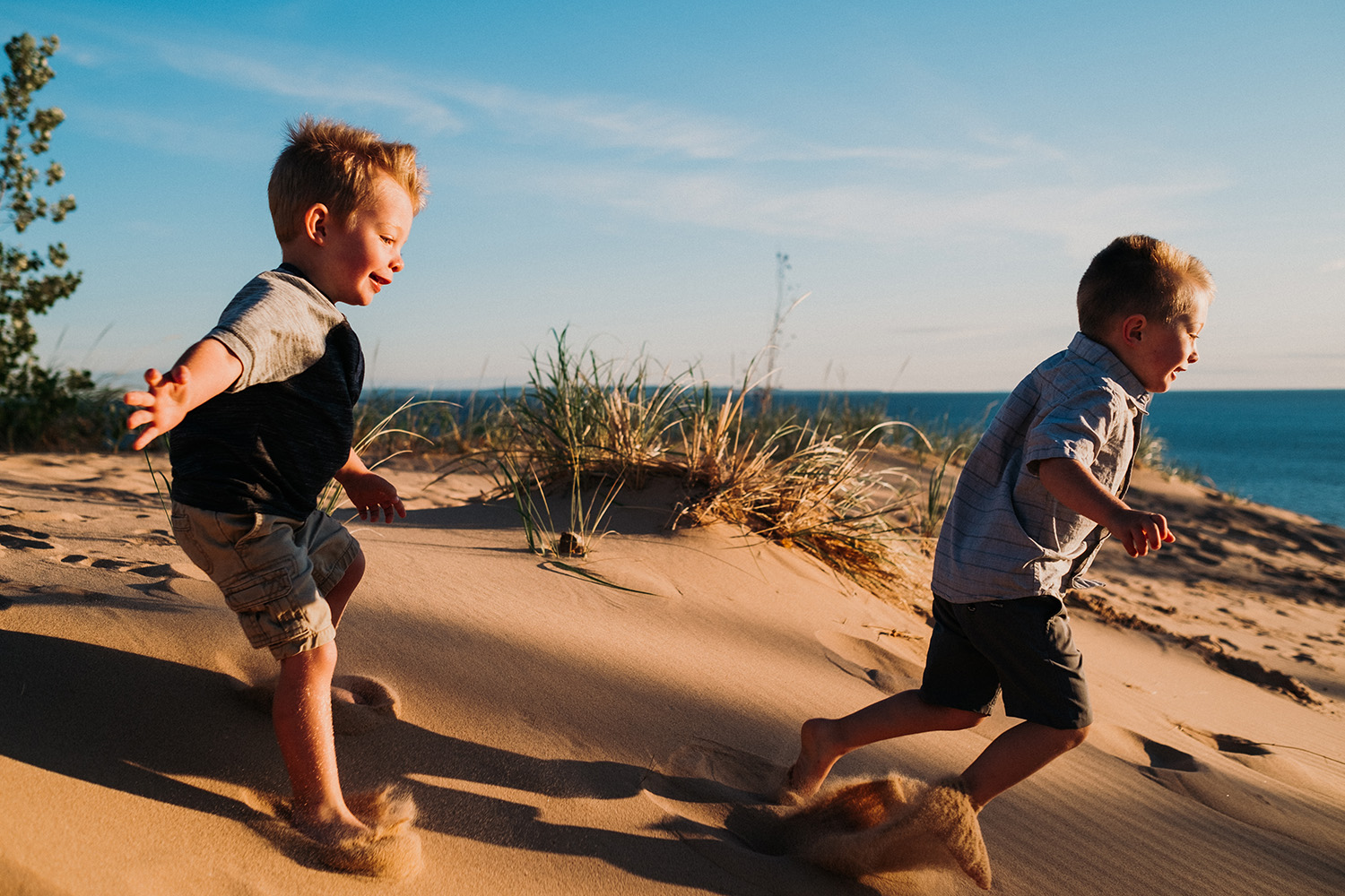 Boys Jumping on the Dunes