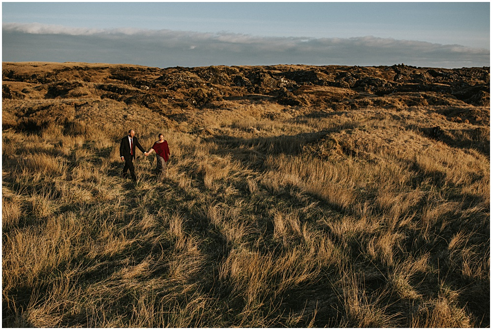 Wedding Elopement in Iceland Prairie Field