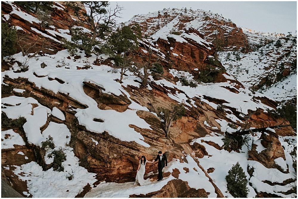 Snowy Cliffside Elopement in Zion