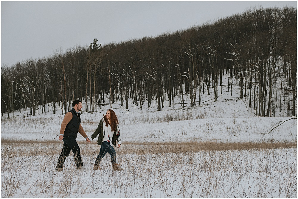 Snowy Engagement Session Traverse City