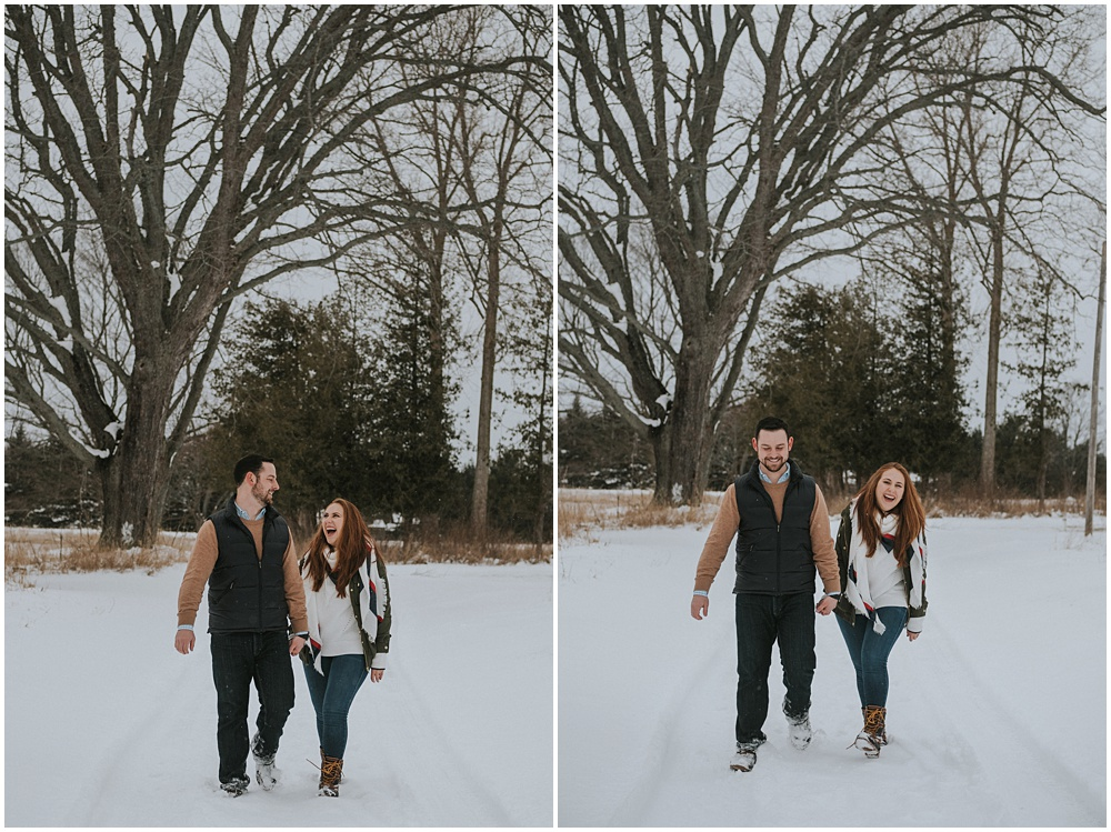 Snowy Winter Engagement Suttons Bay