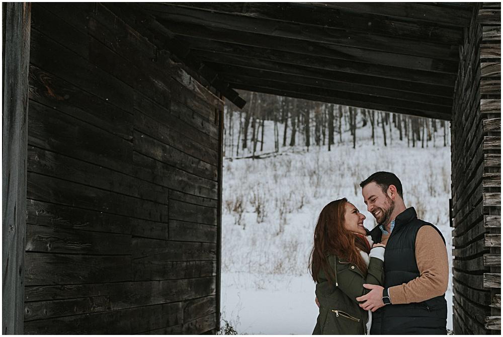 Snow Winter Engagement Photos Traverse City