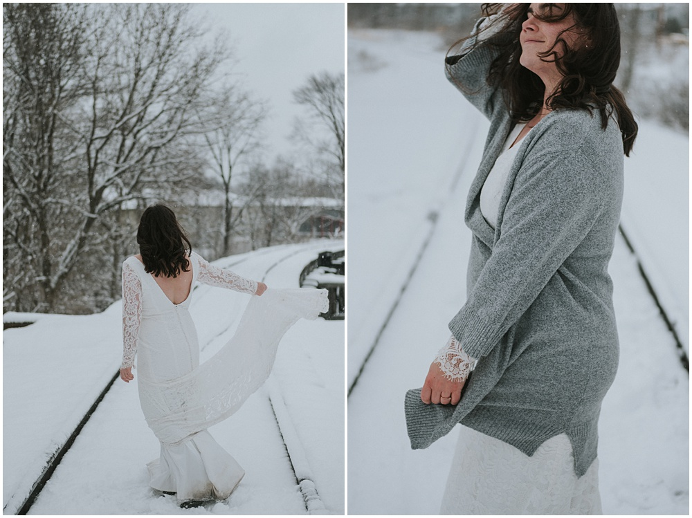 Snowy Bridal Session Traverse City