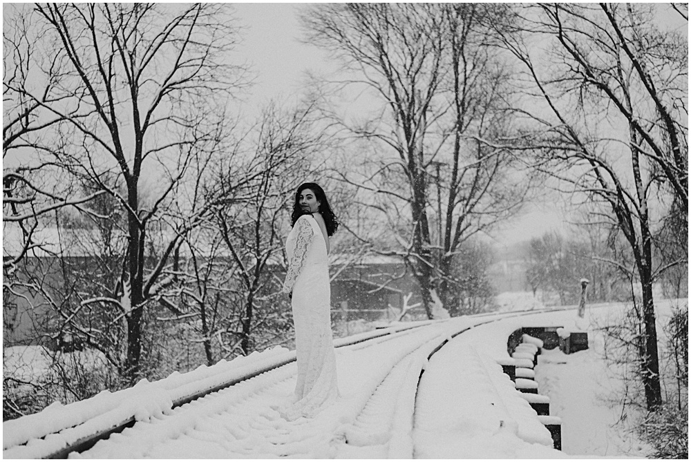 A wintry Bridal Session Traverse City