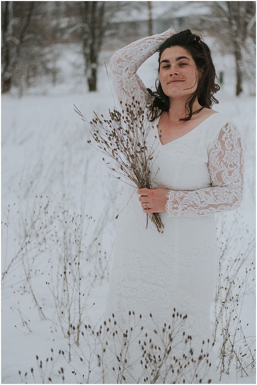 Snowy Winter Bridal Session Michigan