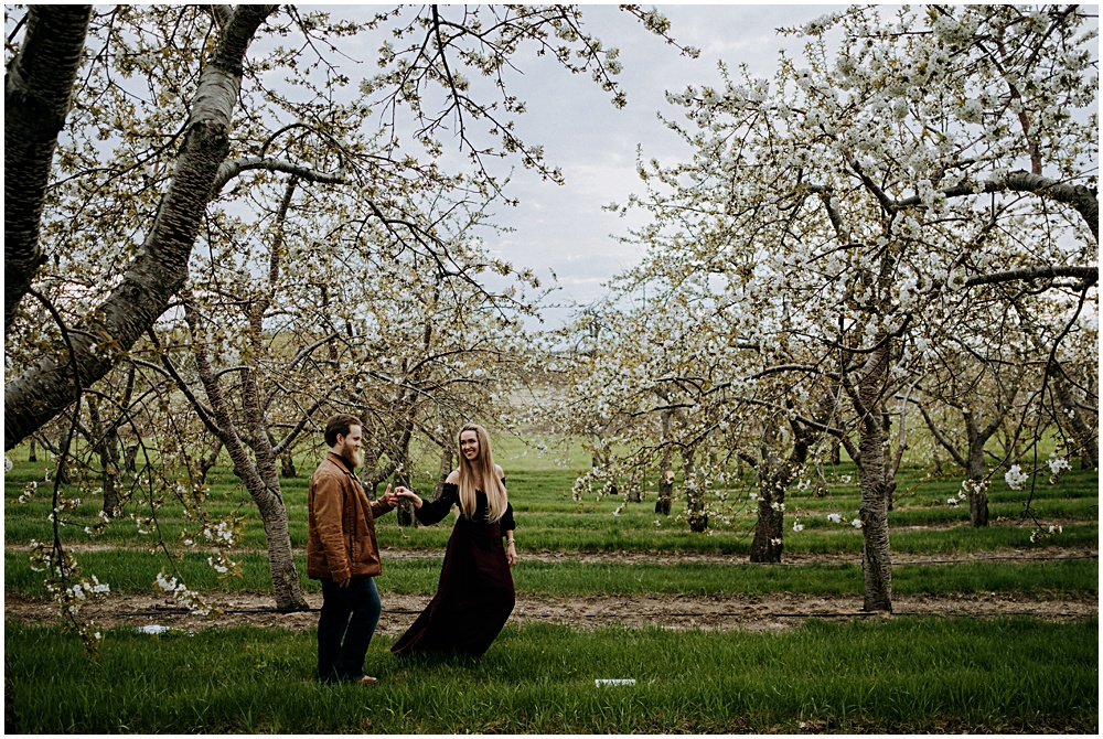 Traverse City Engagement Cherry Orchard Shoot
