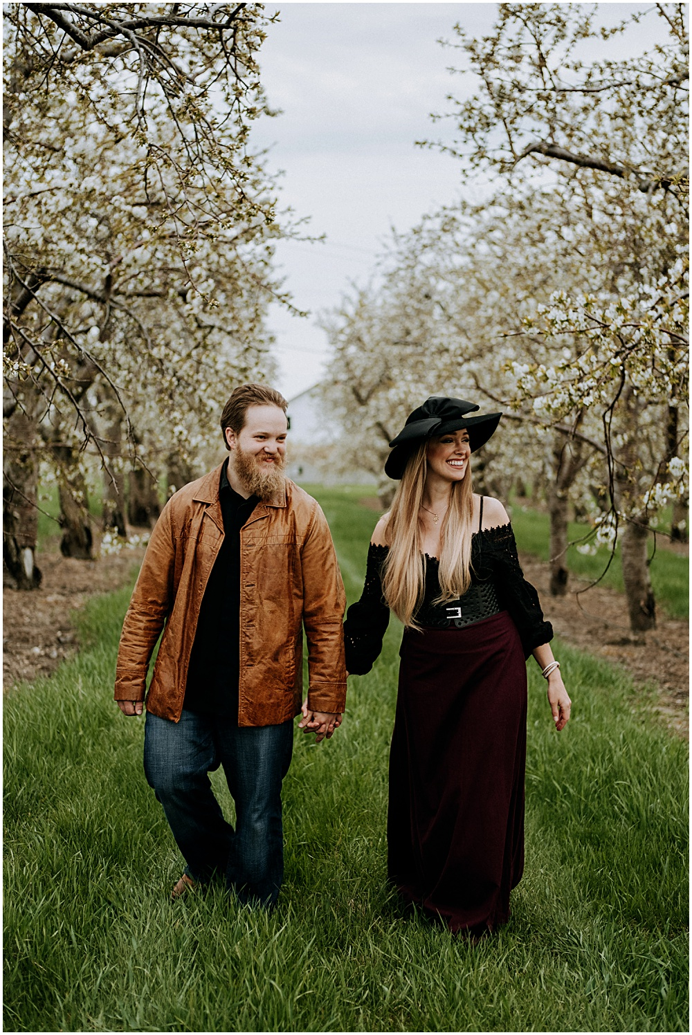 Old Mission Cherry Orchard Engagement Shoot