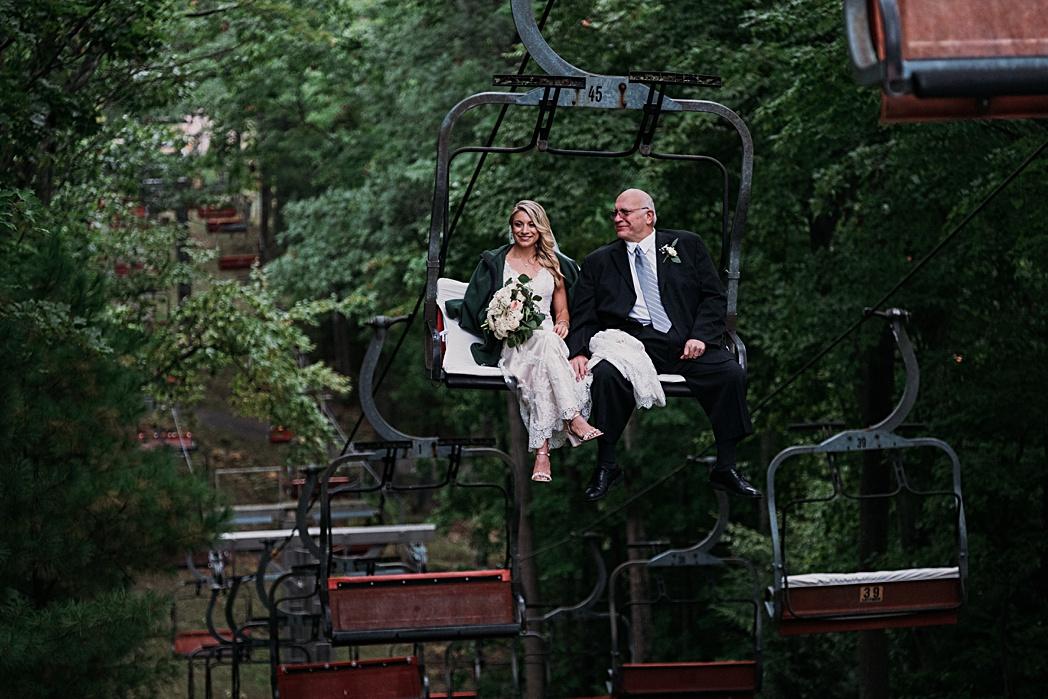 The Homestead Michigan Wedding Ski Lift Bride and Father