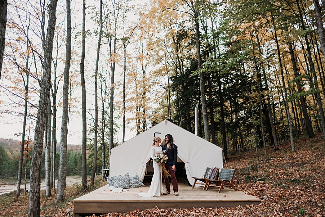 Glamping Tent Nature Michigan Retreat Wedding
