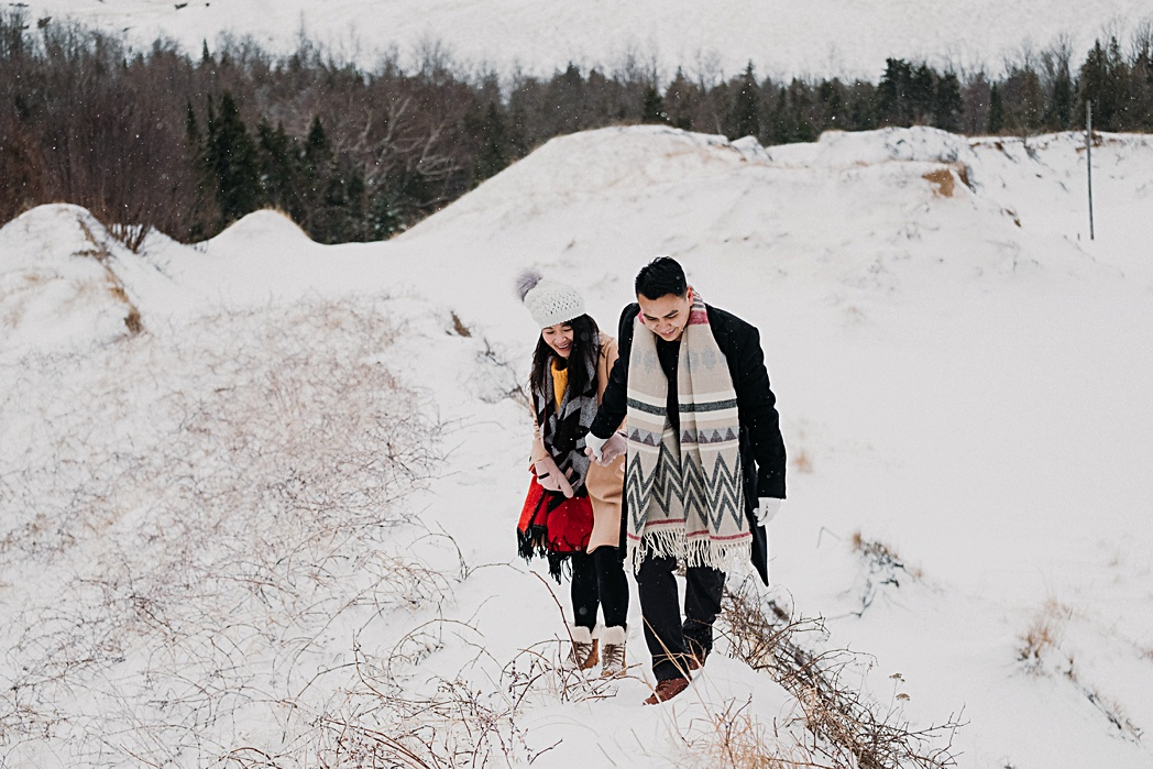 Northern Michigan Dunes Winter Engagement
