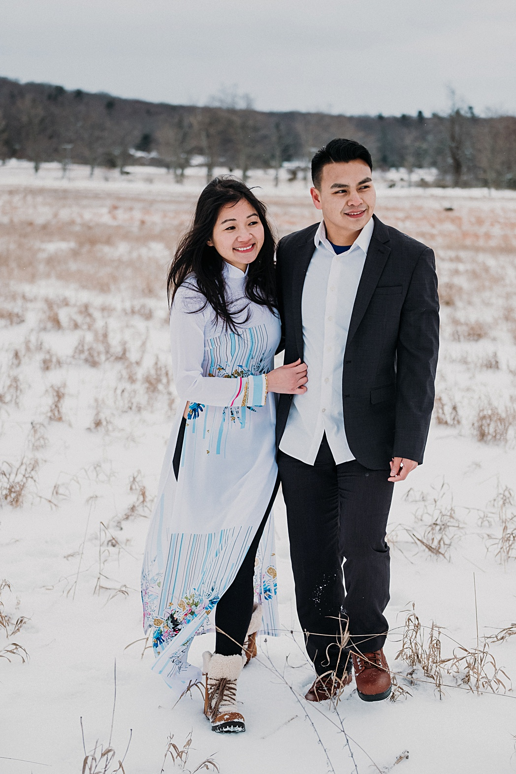 Snowy Engagement Session Sleeping Bear Dunes