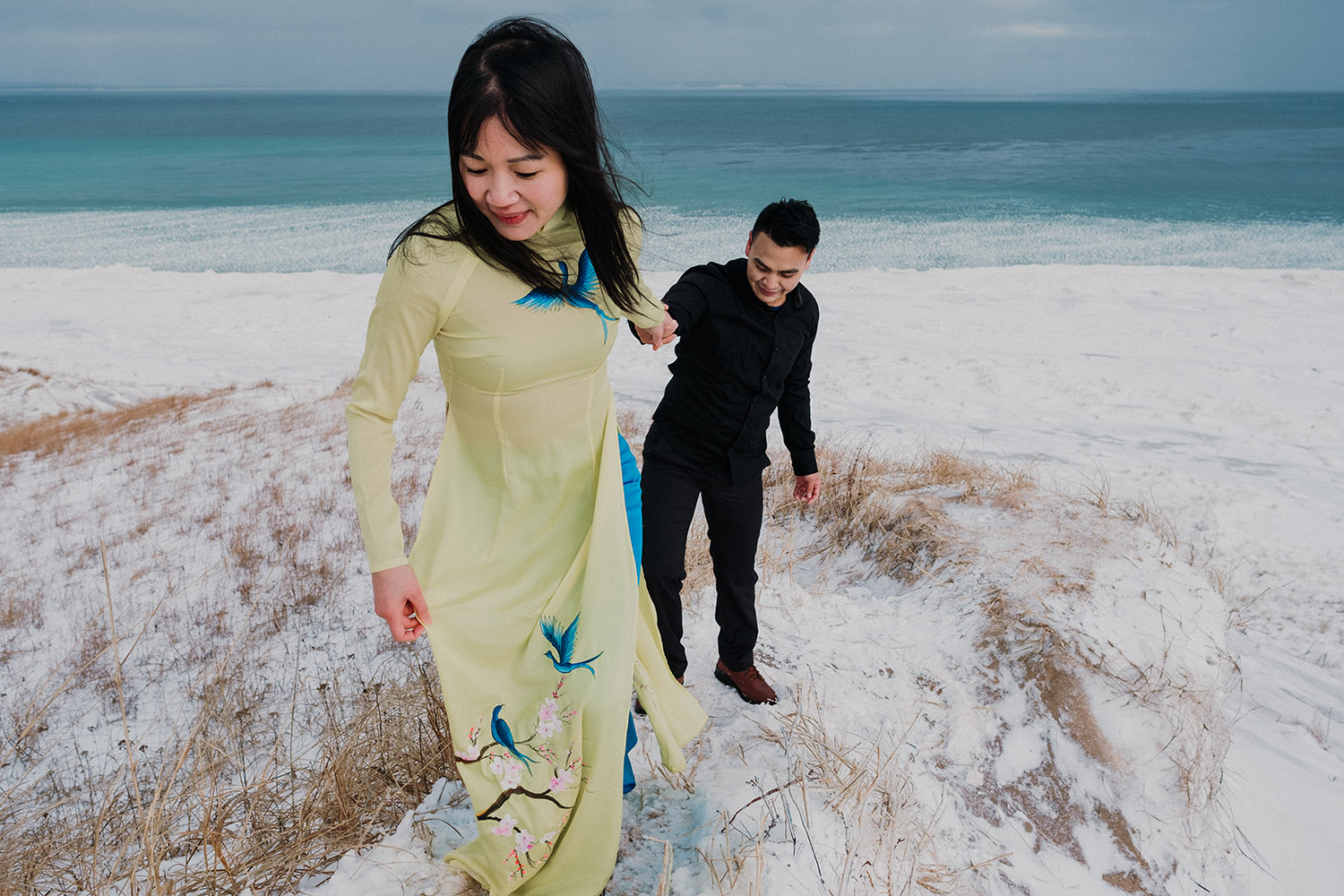 Thu and Ha's Winter Engagement | Sleeping Bear Dunes