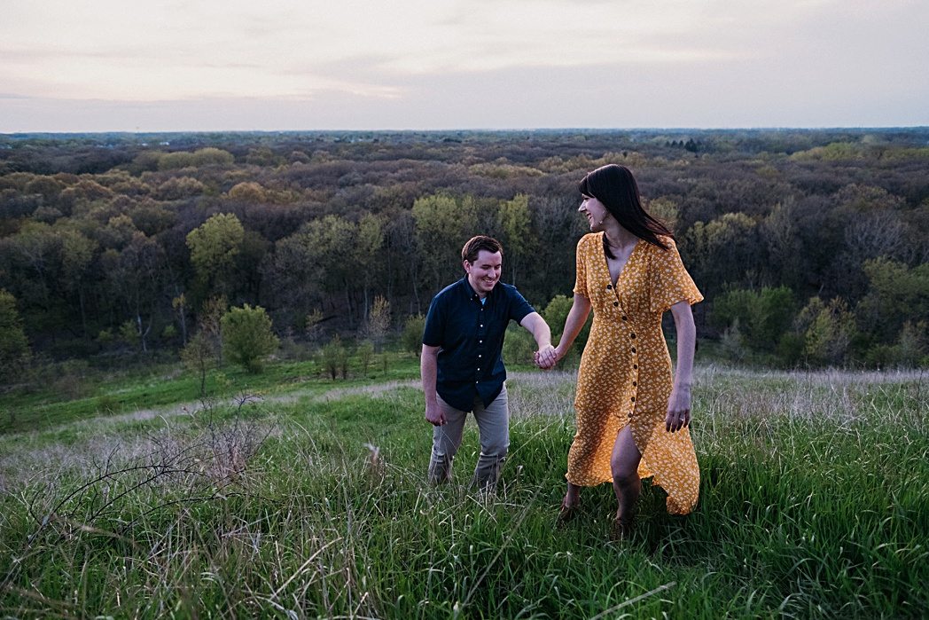 Sunset Engagement Session Blackwell Forest Preserve