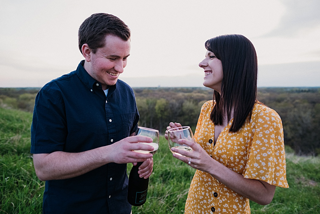 Champagne Anniversary Engagement Session Blackwell Forest Preserve