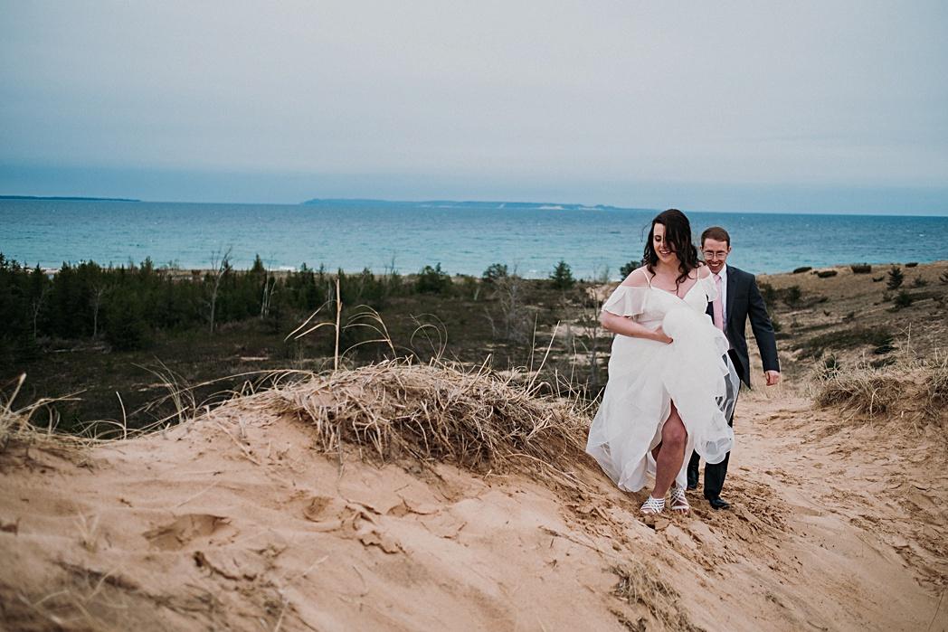 Elopement Couple Northern Michigan Dunes