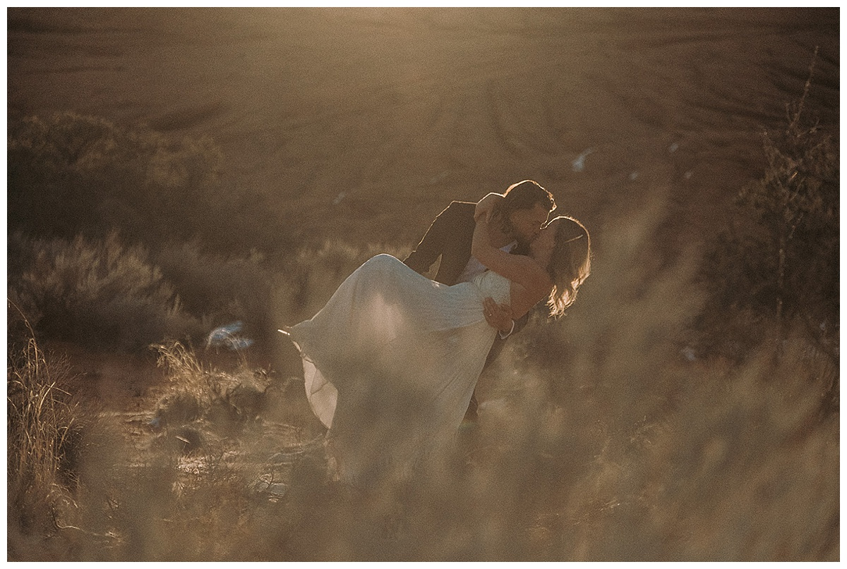 Bride and Groom Kissing Utah