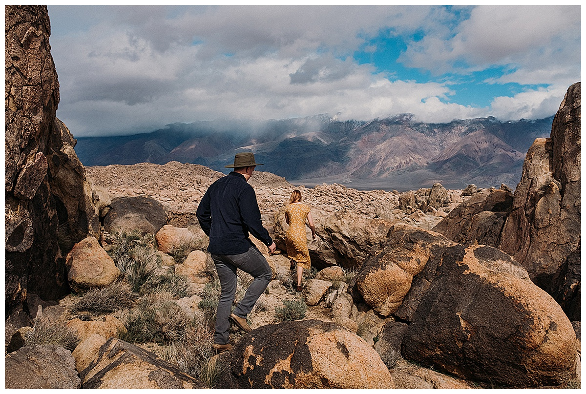 Couple Hiking Alabama Hills in California