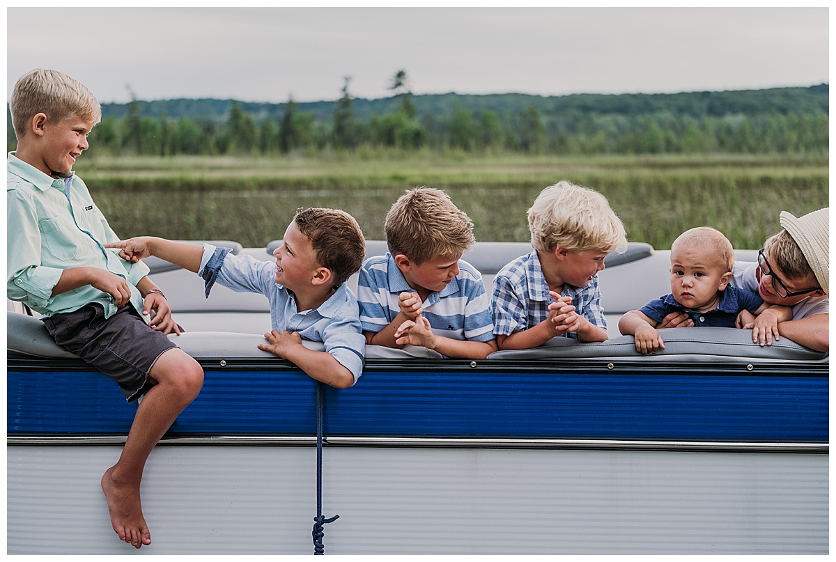 Boys in Pontoon Northern Michigan