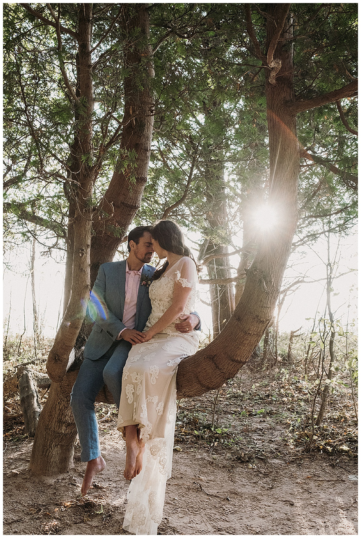 Couple in a Tree Northern Michigan Elopement