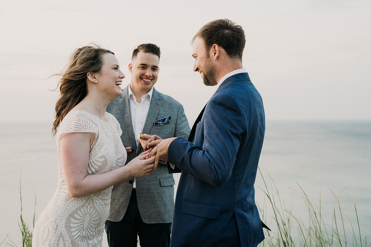 Couple says vows on adventure filled day at Sleeping Bear Dunes with Josh Hartman