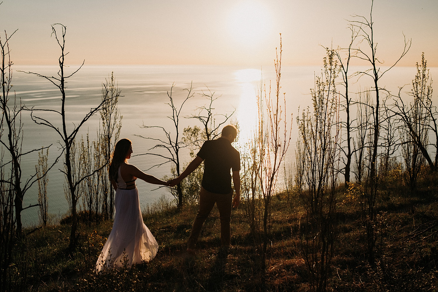 Sunset Engagement Hike in Empire Michigan