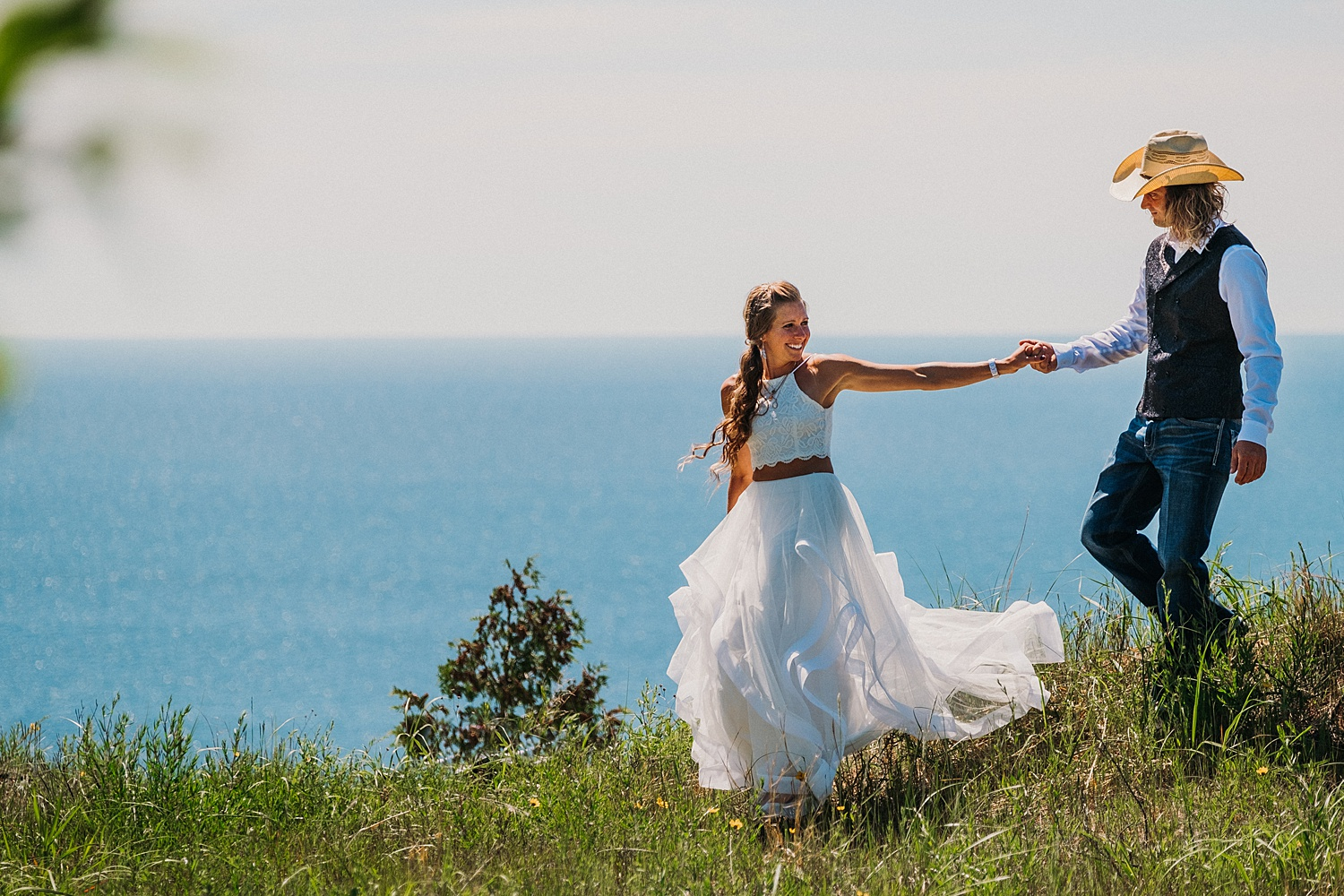 Bride Groom Hike along Lake Michigan