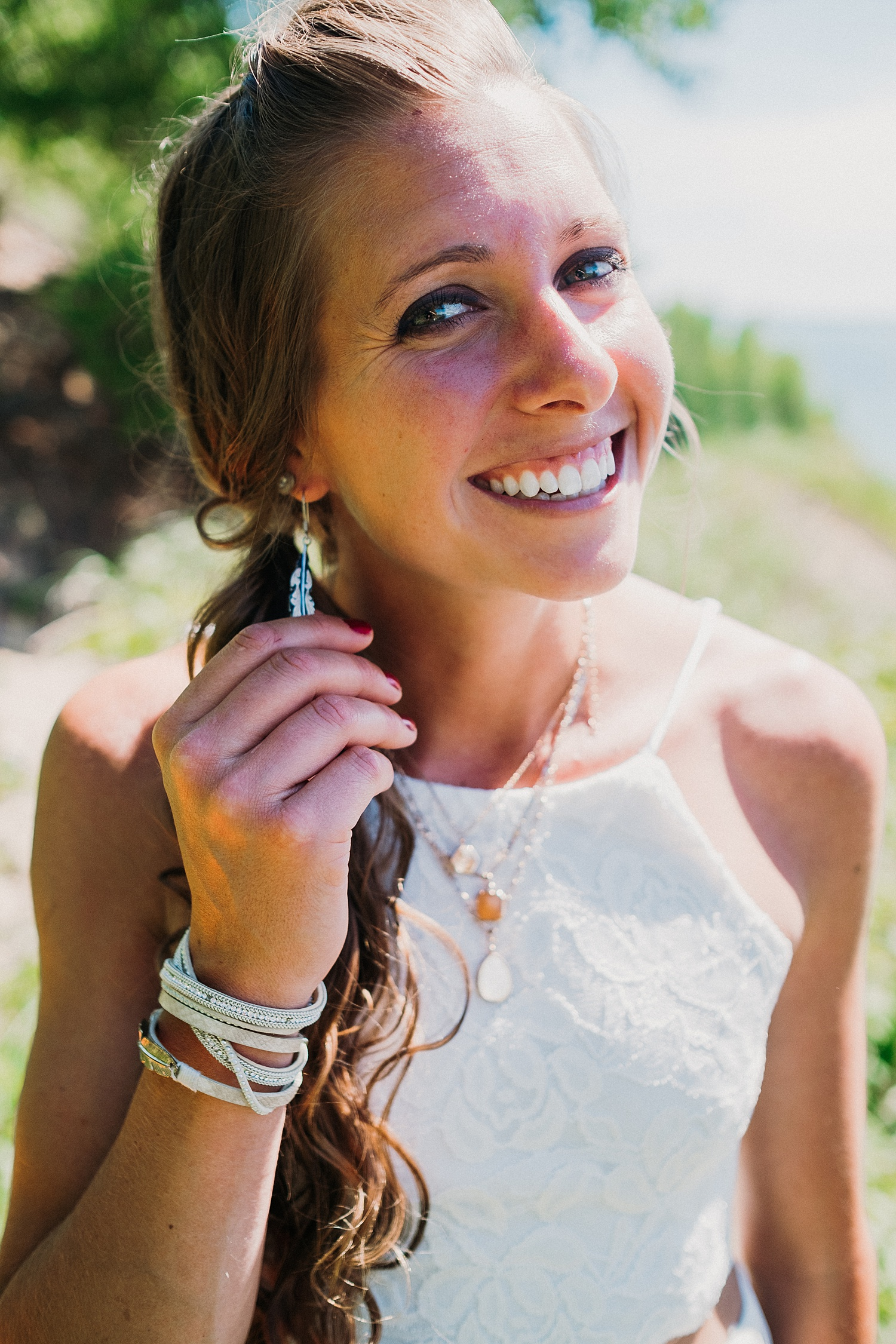 Bride Shows Earrings