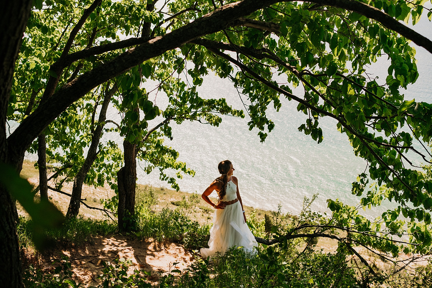 Bride Overlooking Lake Michigan