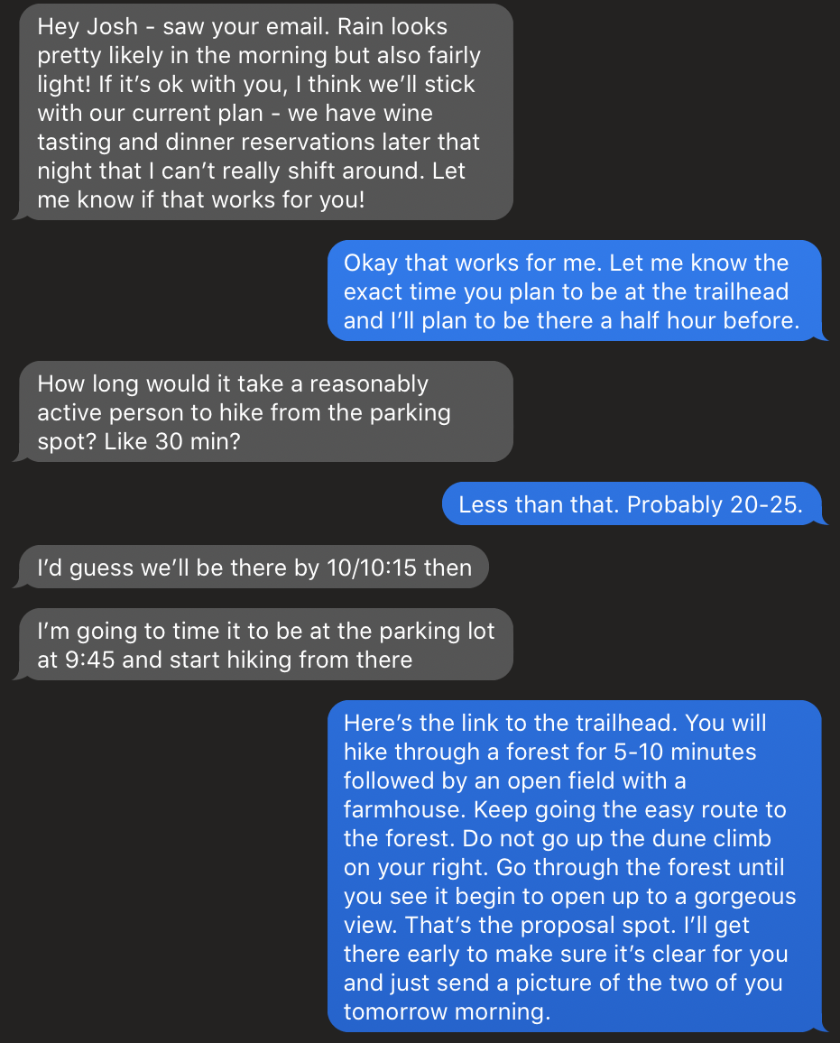 Proposal Planning Northern Michigan Text Messages