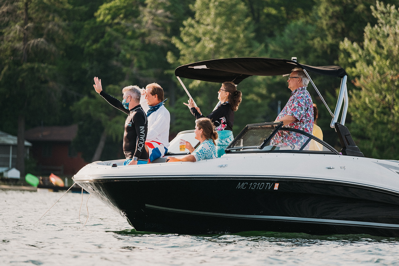 Guests Long Lake Boat Elopement