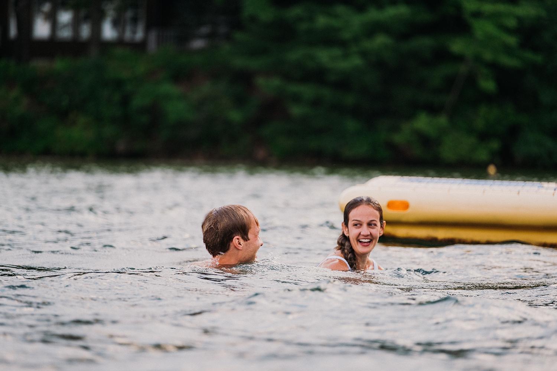 Elopement Couple Swimming Long Lake